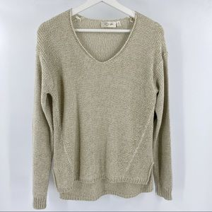 RD style tan sweater v neck with elbow pads